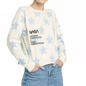 NASA long sleeves star tee crop top t-shirt medium